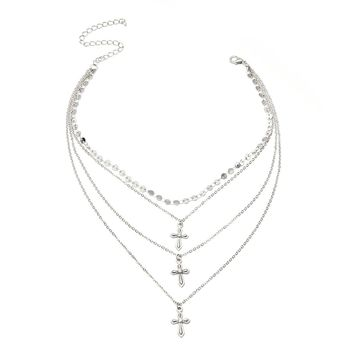 Tri Layered Cross Pendant Choker Necklace | Silver