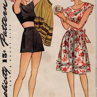 Simplicity 1940s Sewing Pattern 1308 Three Piece Playsuit Bare Midriff Blouse Apron Wrap Skirt High Waist Shorts Bust 33