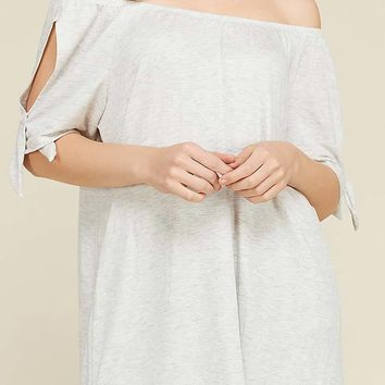 Off the Shoulder Open Sleeve with Tie Detail Relaxed Fit Tunic Top