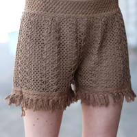 High Waist Frayed Shorts {Mocha}