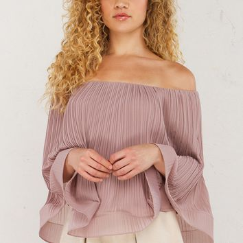 Pleat Off The Shoulder Top in Mauve
