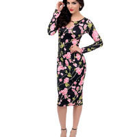 Black & Pink Floral Long Sleeve Keyhole Fitted Scuba Pencil Dress