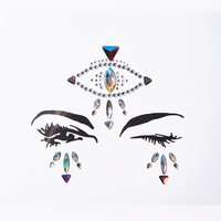 Silver Fortune Teller Eye Face Gems