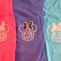 Women's Monogram Disney Comfort Colors Applique Minnie Mouse Pocket Tee