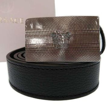 Authentic Versace Belt Medusa Mens Leather Black 0078