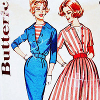 Womens 60s Dress Pattern Butterick Misses size 14 Vintage Pattern Dress Slim or Flared Skirt Dress with Dickey