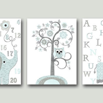 Blue and Gray Elephant Nursery Giraffe Nursery Art Baby Room Decor Baby Nursery Decor Baby Boy Nursery Kids Wall Art Kids Art set of 3 /