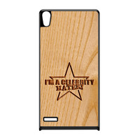 Carved on Wood Effect_Celebrity Hater Black Hard Plastic Case for Huawei P6 by Chargrilled