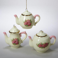 12 Christmas Ornaments - Pink Rose Teapot