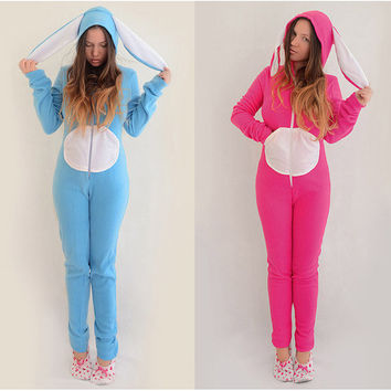 Animal KIGURUMI adult  fleece bodysuit pajamas bunny