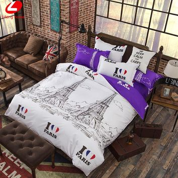Eiffel Tower bedding set 4pcs duvet cover set PAIRS bed set London duvet cover Violet flat sheet bed cover New York bedclothes