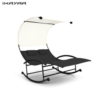 iKayaa Outdoor Double Chaise Rocker Canopy Lounge Chair for Patio