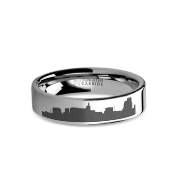 Saint Paul City Skyline Cityscape Laser Engraved Tungsten Ring