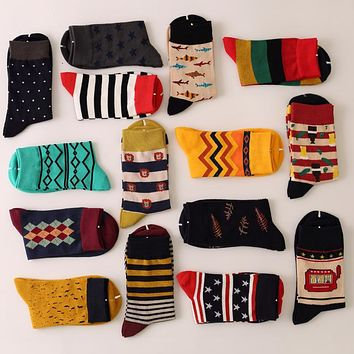 Men's colorful cotton dress socks (5 pairs/lot )