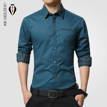 Men Dress Shirt Formal Slim Fit Comfort Long Sleeve Office Clothing Cotton Business Social Casual Oxford Dot Shirts