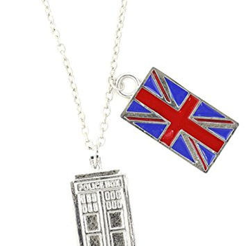 Police Box Necklace Silver Tone NU17 British Union Jack Flag Pendant Fashion Jewelry