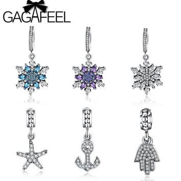 GAGAFEEL Purple Blue Snowflake Charms Beads Fit Pandora Original Bracelet Necklace Real Pure 925 Silver Crystal Starfish Beads
