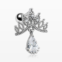 Mandala Crown Sparkle Cartilage Tragus Barbell