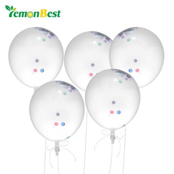 "LemonBest 5pcs 12"" Inflatable Confetti Balloon Ball Baby Shower Latex Clear Ballon Birthday Party Decoration Kids Party Favors"