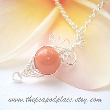 Single sweet pea in a pod necklace - Swarovski pearl necklace with heart - Best Friend - Bridesmaids - mothers day - new mom