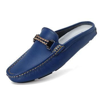 Luxury Brand Shoes Summer Men Casual shoes Leather Men Driving Shoes Backless Loafers Open Backs Shoes Breathable Horsebit Decor