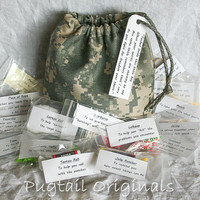 Military Deployment Survival Kit/Bag - Morale Booster - ACU Digicam Camo - Army, Navy, Air Force, Marines, Coast Guard