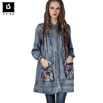 Trendy Spring Autumn Fashion Women Denim Jacket Vintage Flower Embroidered Pockets Long Coats Windbreaker Jackets Coat ladies Outwear AT_94_13