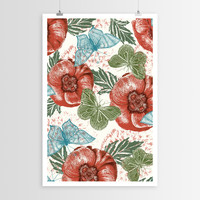 Paula Belle Flores's Poppies and Butterflies POSTER