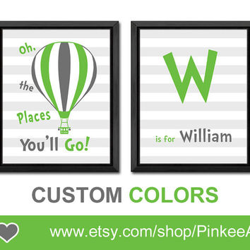 oh the places you will go hot air balloon kids art nursery name print dr seuss personalized baby wall decor green gray boy nursery boys gift