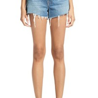Denim x Alexander Wang High Waist Frayed Denim Shorts (Light Indigo Aged) | Nordstrom