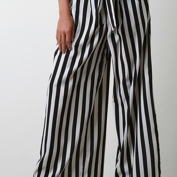 Striped Sash Waist Wide Leg Palazzo Pants