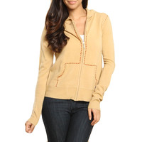 Fifi Womens Justice Knit Contrast Stitch Hoodie