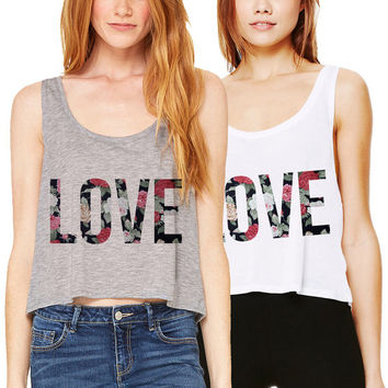 Love Floral Crop Tank Boxy Flowy Workout Gym White Grey Cropped Top Flowers Summer