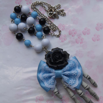 Necklace necklace Pastel Goth Skull Hand Bow