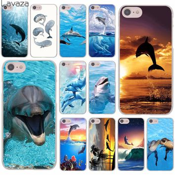 Lavaza Sunset And Jumping Dolphin ocean Hard Cover Case for Apple iPhone 8 7 6 6S Plus 5 5S SE 5C 4 4S X 10 Coque Shell