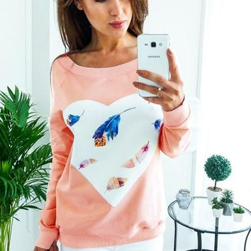 Sweet Heart Round Neck Long Sleeve Top