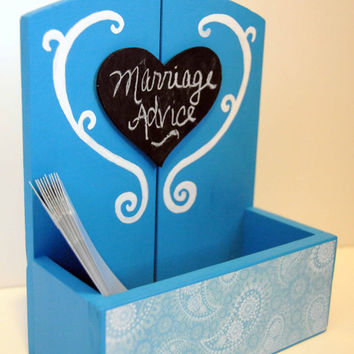 Wedding Advice Box, Alternative Guest Book, Advice for Bride and Groom, Wedding Wishes, Wooden Keepsake Box, Reception Decor, Blue, Gift