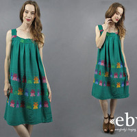 Butterfly Dress 1970s Dress 70s Dress Hippie Dress Hippy Dress Boho Dress Festival Dress Bohemian Dress Mexican Dress Summer Dress S M L
