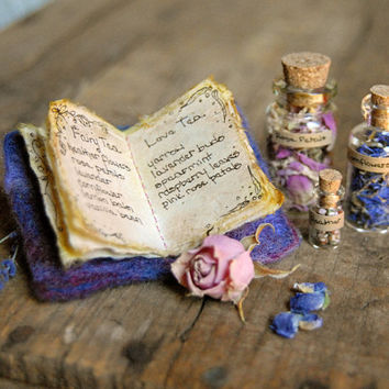 Fairy Tea Magic, Handmade Miniature Book of Recipes, Herbal Flowers, Rose