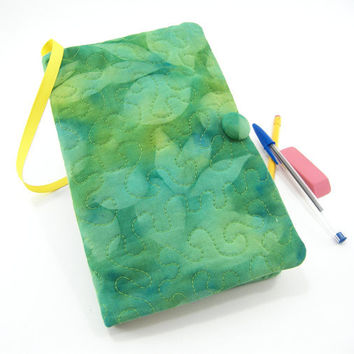 Moleskine Cover, Quilted Journal Slipcover, Fabric Diary - Emerald and Lime Green Leaves Hand Painted
