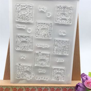 Baby Bear Frame Designs Transparent Clear Stamp DIY Silicone Seals Scrapbooking/Card Making/Photo Album Decoration Accessories