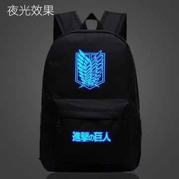 Japanese Anime Bag Attack on Titan  Luminous Backpack Cosplay Shingeki no Kyojin Wings of Liberty School Shoulder Bag Bookbag New AT_59_4