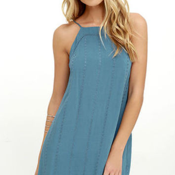 Country Road Blue Embroidered Dress