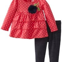 Watch Me Grow! by Sesame Street Baby-girls Newborn 2 Piece Dotted Flower Dress and Pant, Pink, 6-9 Months
