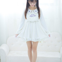 Japanese Soft Sister Summer And Autumn Sweet Cute Angel Lolita Style Prue White Dress Embroidery Preppy Style Summer Dress