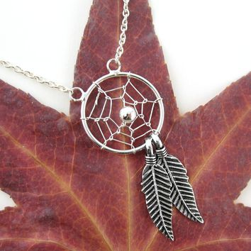 Delicate Dreamcatcher Necklace with Two Feathers in Sterling Silver