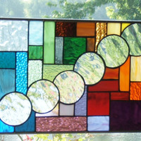 Stained glass panel window rainbow bubbles geometric abstract stained glass window panel