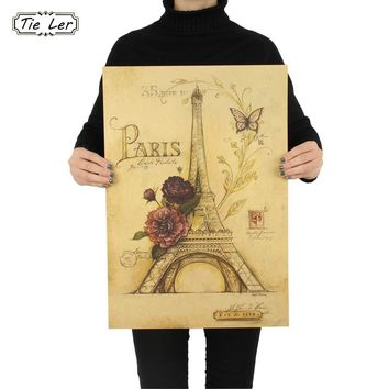 Home Wall Decor Butterfly Paris Eiffel Tower Paper Wall Vintage Painting Poster