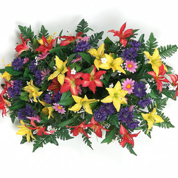 Tiger Lily Headstone Spray with Orange/Yellow/Purple/Fuchsia Flowers - 29 Inch