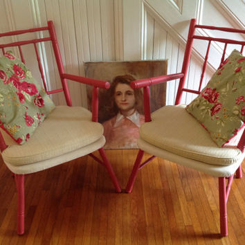 HOLIDAY SALE! Vintage Cricket Chairs with Arms Coral Painted Frame Cream Fabric Seat Floral Pillows Cottage Style